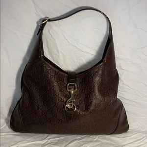 Authentic Gucci GG brown leather hobo purse